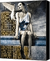 Goth Mixed Media Canvas Prints - City Angel -2 Canvas Print by Bob Orsillo