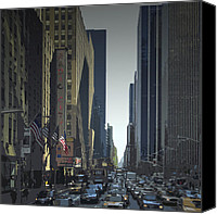 Taxi Canvas Prints - City-Art 6th Avenue NY  Canvas Print by Melanie Viola