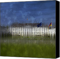 Scenic Digital Art Canvas Prints - City-Art BERLIN Bellevue Canvas Print by Melanie Viola