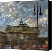 Attraction Digital Art Canvas Prints - City-Art BERLIN Brandenburger Tor II Canvas Print by Melanie Viola