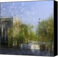 Berlin Canvas Prints - City-Art BERLIN River Spree Canvas Print by Melanie Viola