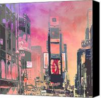 Purple Car Canvas Prints - City-Art NY Times Square Canvas Print by Melanie Viola