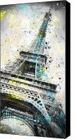 Black Digital Art Canvas Prints - City-Art PARIS Eiffel Tower IV Canvas Print by Melanie Viola