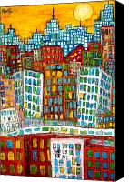 Skylines Painting Canvas Prints - City Bones Canvas Print by Karl Haglund