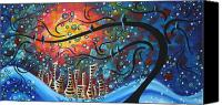 Blue Painting Canvas Prints - City by the Sea by MADART Canvas Print by Megan Duncanson