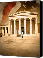 Condemn Canvas Prints - City Courthouse Justice Building with Flag Canvas Print by Angela Waye