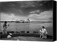 Tugboat Canvas Prints - City Fishing Canvas Print by Bob Orsillo