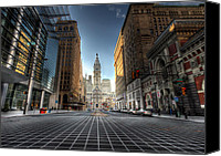 City Streets Canvas Prints - City Hall Canvas Print by Lori Deiter