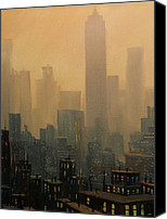 New York Skyline Canvas Prints - City Haze Canvas Print by Tom Shropshire