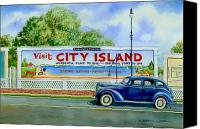 1930s Canvas Prints - City Island Billboard Canvas Print by Marguerite Chadwick-Juner
