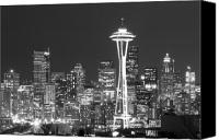 Seattle Tapestries Textiles Canvas Prints - City Lights 1 Canvas Print by John Gusky