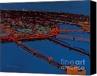 City Of Bridges Painting Canvas Prints - City Lights Canvas Print by Clement richard Prebles