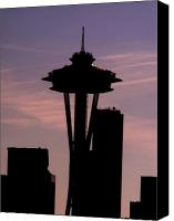Seattle Tapestries Textiles Canvas Prints - City Needle Canvas Print by Tim Allen
