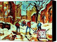 Hockey In Montreal Painting Canvas Prints - City Of Montreal Hockey Our National Pastime Canvas Print by Carole Spandau