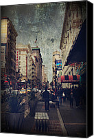 San Francisco Digital Art Canvas Prints - City Sidewalks Canvas Print by Laurie Search