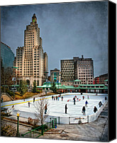 Skating Canvas Prints - City Skaters Canvas Print by Robin-Lee Vieira