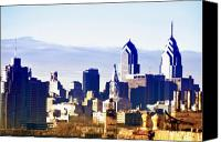Philadelphia Skyline Canvas Prints - City Skyline Philadelphia Canvas Print by Bill Cannon