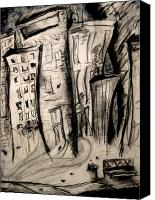 Charcoal Drawing Canvas Prints - City Streets Canvas Print by Molly Markow