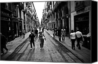 Barcelona Pyrography Canvas Prints - City Walk Canvas Print by Kaden Shallat