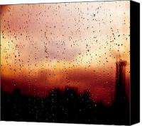 Glass Photo Canvas Prints - City Window Canvas Print by Bob Orsillo