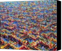 Birdseye Canvas Prints - Citypattern Canvas Print by De Es Schwertberger