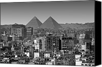 Middle East Canvas Prints - Cityscape Of Cairo, Pyramids, Egypt Canvas Print by Anik Messier