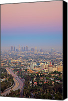 Weather Canvas Prints - Cityscape Of Los Angeles Canvas Print by Eric Lo