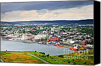 Canada Canvas Prints - Cityscape of Saint Johns from Signal Hill Canvas Print by Elena Elisseeva