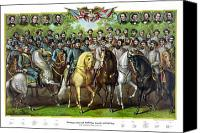 United States Drawings Canvas Prints - Civil War Generals and Statesman With Names Canvas Print by War Is Hell Store