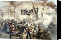 Civil War Painting Canvas Prints - Civil War Naval Battle Canvas Print by War Is Hell Store