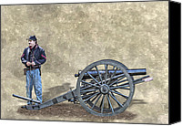Civil War Anniversary Canvas Prints - Civil War Union Artillery Corporal with Cannon Canvas Print by Randy Steele