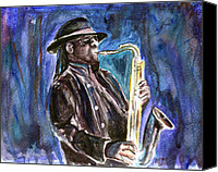 Saxaphone Painting Canvas Prints - Clarence Clemons Canvas Print by Clara Sue Beym