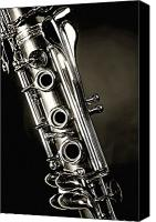 Canvas Wrap Canvas Prints - Clarinet Isolated in Black and White Canvas Print by M K  Miller
