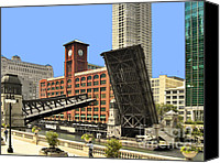 Bridge Crossing River Photo Canvas Prints - Clark Street Bridge Chicago - A contrast in time Canvas Print by Christine Till