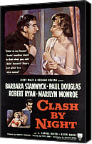 1950s Poster Art Canvas Prints - Clash By Night, Paul Douglas, Barbara Canvas Print by Everett