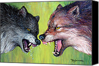 Wolf Pastels Canvas Prints - Clash of the Alphas Canvas Print by Tanja Ware