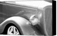 Monochrome Hot Rod Canvas Prints - Classic Black and White Car Front End Canvas Print by M K  Miller