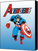 Captain America Canvas Prints - Classic Captain America Canvas Print by Mista Perez Cartoon Art
