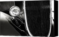 Monochrome Hot Rod Canvas Prints - Classic Car Grille Black and White Canvas Print by M K  Miller