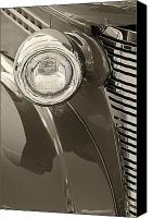 Monochrome Hot Rod Canvas Prints - Classic Car Headlight Canvas Print by M K  Miller