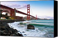 Building Canvas Prints - Classic Golden Gate Bridge Canvas Print by Photo by Alex Zyuzikov