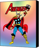 Avengers Canvas Prints - Classic Mighty Thor Canvas Print by Mista Perez Cartoon Art