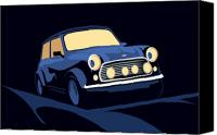 Classic Car Canvas Prints - Classic Mini Cooper in Blue Canvas Print by Michael Tompsett