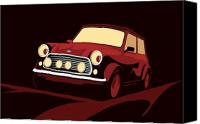 Classic Car Canvas Prints - Classic Mini Cooper in Red Canvas Print by Michael Tompsett