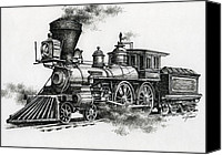 Ink Drawing Canvas Prints - Classic Steam Canvas Print by James Williamson