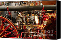 Old Trucks Canvas Prints - Classic Vintage Fire Engine . 7D13130 Canvas Print by Wingsdomain Art and Photography