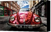 2012 Canvas Prints - Classic VW on a Glasgow Street Canvas Print by John Farnan