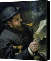 Monet Painting Canvas Prints - Claude Monet reading a newspaper Canvas Print by Pierre Auguste Renoir
