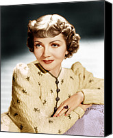 1930s Hairstyles Canvas Prints - Claudette Colbert, Ca. 1939 Canvas Print by Everett