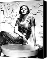 Gold Lame Canvas Prints - Claudette Colbert In The Early 1930s Canvas Print by Everett